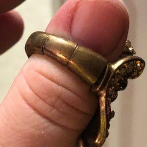 Jewelry - Elephant gold tone with rhinestones elastic ring.